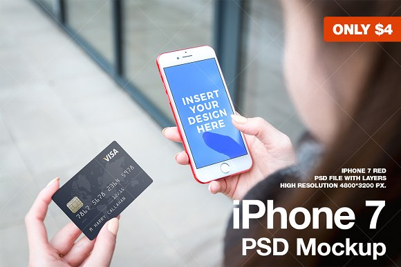Download iPhone 7 RED Mockup with credit card