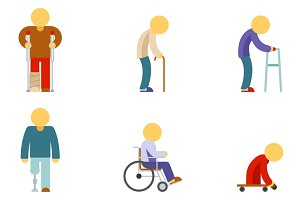 Disability flat icons