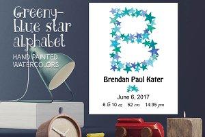 Greeny blue star alphabet + FREEBIE