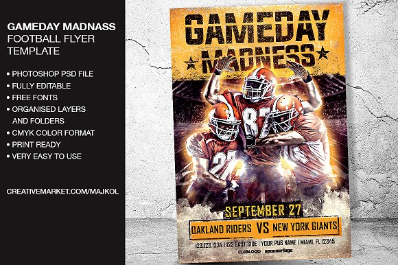 gameday madness football flyer flyer templates creative market