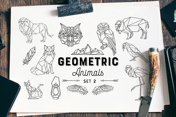 Geometric Animals Set 2 Eps And PNG