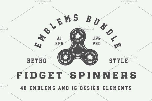 set of fidget spinners emblems logo templates creative market