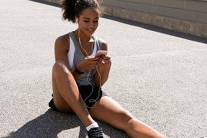Athlete listening music