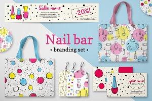 Nail branding set in pop-art style