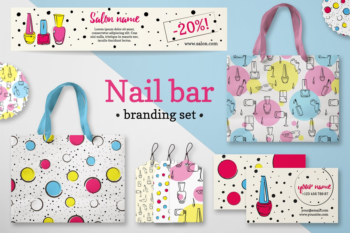 Nail branding set in pop-art style