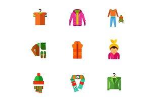 Casual clothes icon set