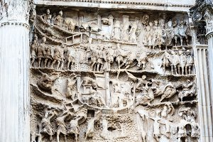 Fragment of bas-relief on iconic Arch of Titus on the Via Sacra in Roman Forum