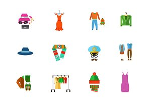 Fashion store icon set