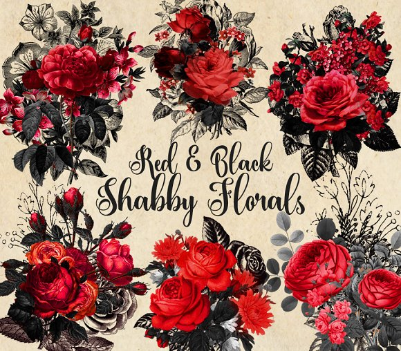 Red And Black Shabby Floral Clipart