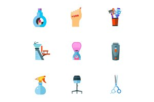 Hairdressing salon icon set