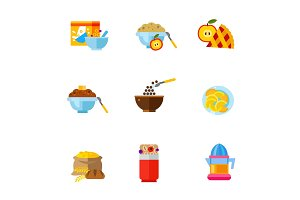 Healthy breakfast icon set