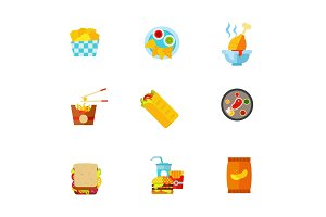 Junk food icon set
