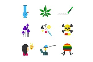 Narcotic concept icon set