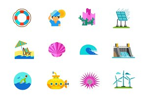 Natural resources icon set