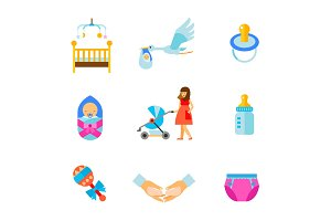 Newborns icon set