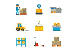 Warehouse icon set