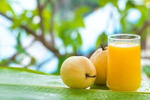 Pear tropic fruit summer refreshment smoothie
