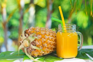 Pineapple tropic fruit summer refreshment smoothie