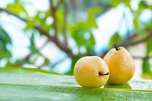 Fresh yellow pear tropic fruit summer outdoors
