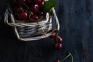 Fresh organic cherries