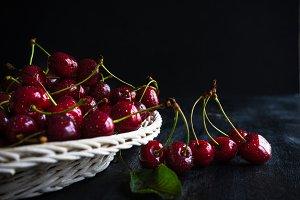 Fresh organic cherries