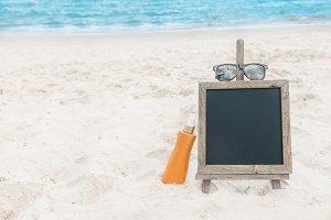 Chalk board sunscreen cream beach tropic exotic