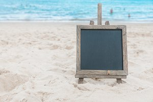 Chalk board sand beach tropic exotic background