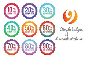 Simple badges of discount stickers