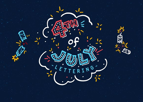 4th Of July Americana Lettering