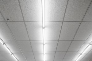Fluorescent light on ceiling