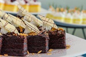 chocolate almond cake on table.