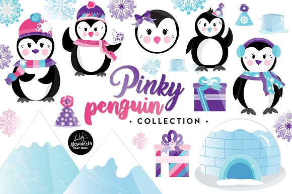 Pinky Penguin Graphics Patterns