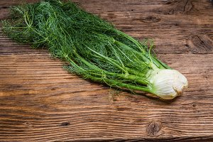Fennel bulb on a rustic wooden table