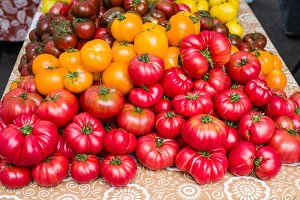 Red ripe tomatoes at the market