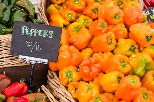 Fresh orange peppers at the market