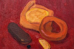 Still life with oil paints