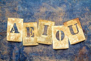 "Letters of the alphabet ""AEIOU"""