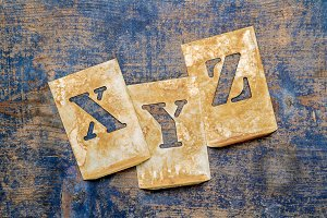 "Letters of the alphabet ""XYZ"""