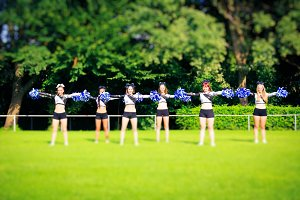 Cheerleaders Practicing Outdoors
