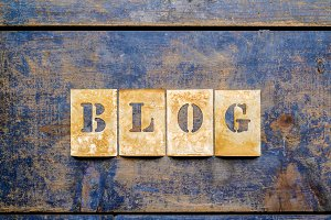 """Brass letters showing """"BLOG"""""""