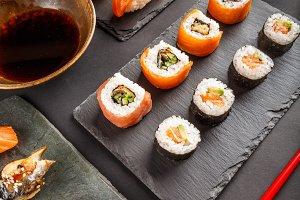 Japanese tasty sushi set
