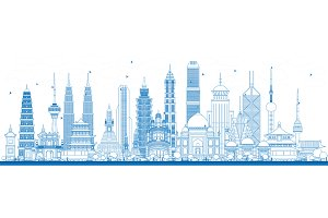Outline Famous Landmarks in Asia