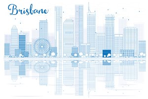 Outline Brisbane skyline