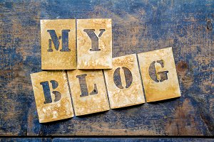 "Brass letters showing ""MY BLOG"""