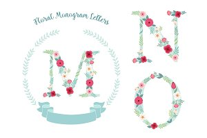 Cute vintage monogram alphabet letters with hand drawn rustic flowers