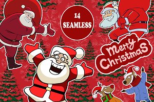 14 seamless christmas vectors