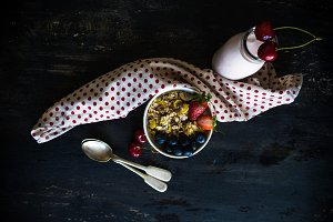 Healthy breakfast with berries