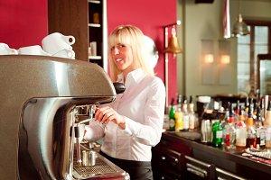 Female Bartende Making Coffee