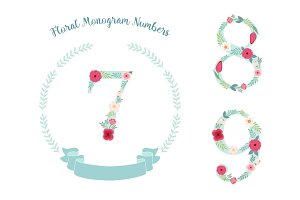 Cute vintage numbers with hand drawn rustic flowers