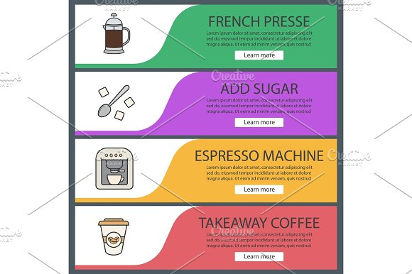 Coffee Web Banner Templates Set